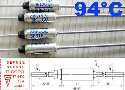 5Pcs Microtemp Thermal Fuse 94°C 94 Degree TF Cutoff SF91E 10A AC 250V New
