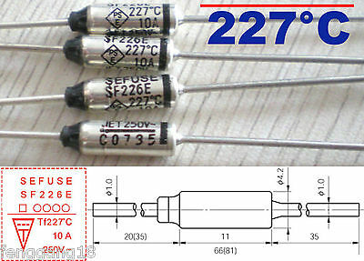5Pcs Microtemp Thermal Fuse 227°C 227 Degree TF Cutoff SF226E 10A AC 250V New