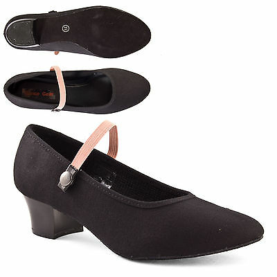 Girls Black Cuban Heel Canvas Character Shoes Syllabus by Dance Gear CHCHAR
