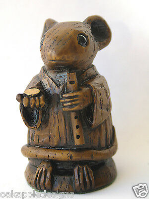 Church Mouse Flute Musical Ornament Musician Oak Carving Unique Collectable Gift