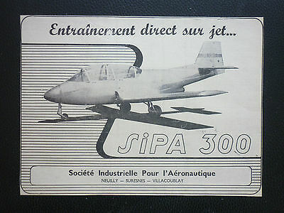 6/1955 Pub Avion Sipa 300 Entrainement Jet Aircraft Original French Ad