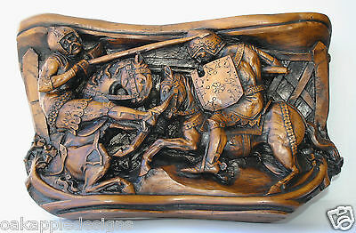 Knights Jousting Tournament Reproduction Victorian Gloucester Cathedral Carving