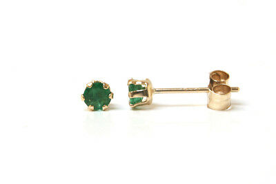 9ct Gold 3mm Emerald Stud Earrings Gift Boxed Made in UK