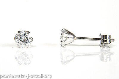 9ct White Gold earrings CZ Studs Gift Boxed Made in UK