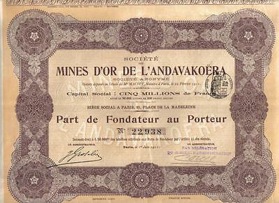 Africa Madagascar France 1911 Gold Mines Or Andavakoera Deco Uncancelled coup
