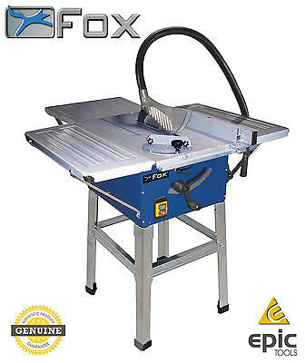 "FOX F36-522E 10"" 250mm 1800w Bench Table Saw With Extensions, Stand & TCT Blade"