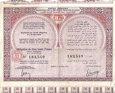 Original Africa Morocco Empire Bond 1952 4% Loan 1914 500 fr Uncancelled Deco