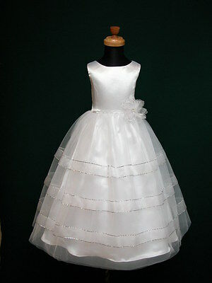 New Novela Flowergirl Flower Girl Communion Bridesmaid Wedding White Dress 3-10
