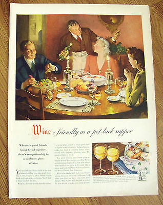 1943 Wine Ad   Friendly as a Pot Luck Supper