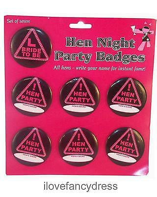 Hen Night Party Name Badges Bride To Be Pack Of 7 Clubbing Gift