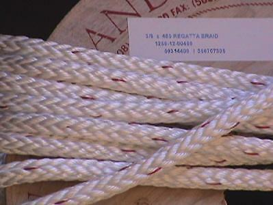 "3/8""  Regatta Braid Rope White, per 10-ft"