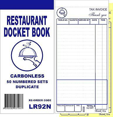 100 Quality Restaurant Docket Books - Large Size Duplicate Carbonless