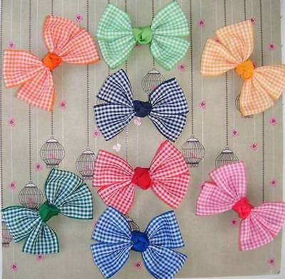 School gingham check hair bow clip, clasp.dance shows exams