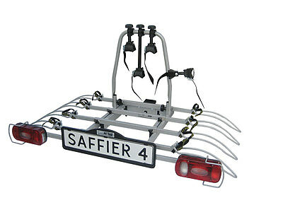 Saffier IV Towbar Mounted Tilting 4 Bike Rack / Four Cycle Carrier
