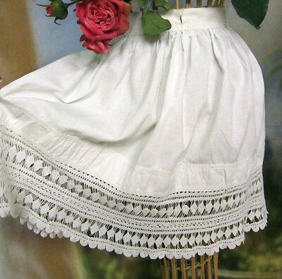 ANTIQUE Victorian CHILD skirt LINEN cotton FABRIC handmade LACE embroidery TRIM