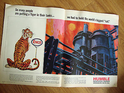 1966 Humble Oil Enco Ad Put a Tiger In their Tanks World's Biggest CAT
