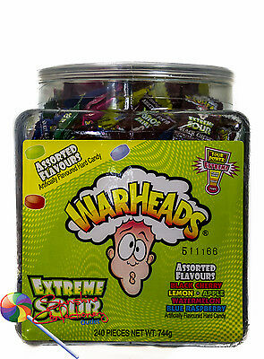 WARHEADS TUB -  Extreme Sour  -  240 pieces  -  Assorted Flavours