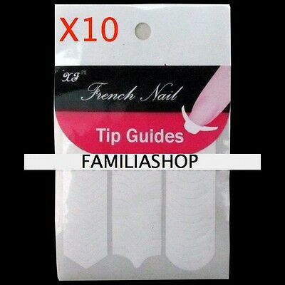 LOT 10 Paquets soit 500 stickers kit french manucure guide ongles nail art