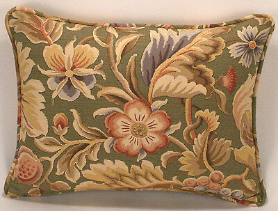 "1 12"" by 16"" Jay Yang Fabric Green and Tan Floral Designer Throw Pillow"