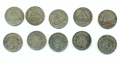 WHOLESALE NICARAGUA KM # 9 of 1899 TEN ( 10 ) CIRC COINS with TRIANGLE EMBLEM