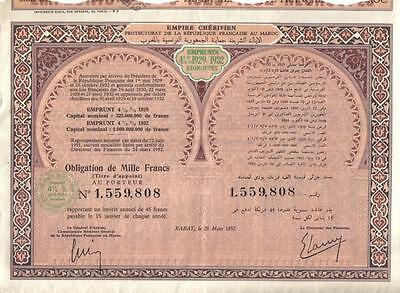 Africa Morocco Empire Bond 1952 4.5% Loan 1929/1932 1000 fr Uncancelled coupons