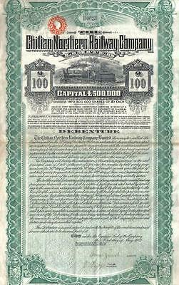 Chile 1912 Bond 5% The Chilian Northern Railway Co £100 Uncancelled Deco coupons