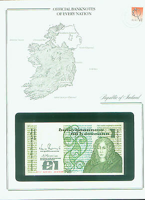 REPUBLIC of IRELAND BANK NOTE £1 PUNT STAMPED WINDOWED ENVELOPE with MAP & INFO
