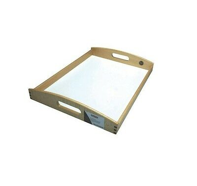 Beech Wood Wooden Over Bed Dinning Breakfast Tray With White Laminate Base