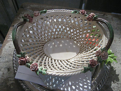 Mid Century Italian Rose Weave Pottery Bowl or Basket
