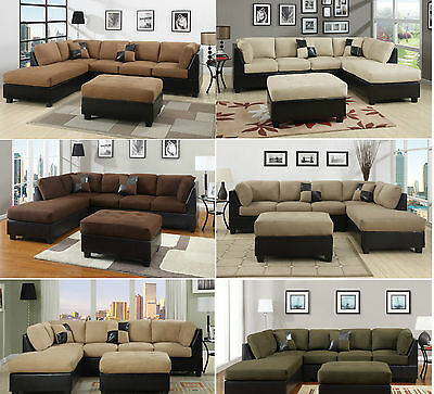 Sectional Sofa 3pcs Microfiber Sectionals sofa in 6 Colors Sofa Couch Sofas