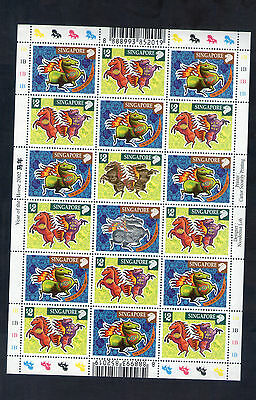 Singapore 2002 Year of  Horse ,  Complete in full sheet ,