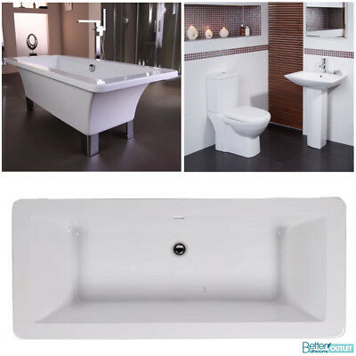 Square Freestanding Bath Tub Complete Bathroom Suite Toilet &Wash Basin Sink Set