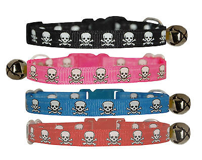 "lime purple  pink blue red ""black skull & crossbone"" cat kitten safety collar"