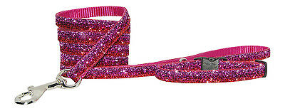 rosewood pink & red  sparkle chihuahua dog/pup collar lead set