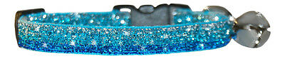 """Shaded Turquoise Blue Sparkle Safety Kitten Cat  Collar 7""""-10"""""""