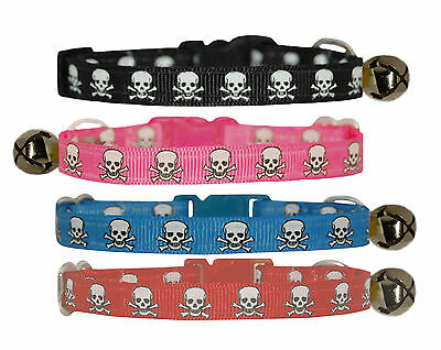 "hot pink blue red ""black skull and crossbone"" kitten safety  collar  5""-7"""