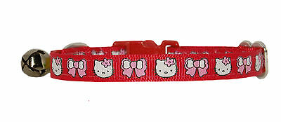 "handmade fabric cute red hello kitty  kitten cat  collar   bell 7""-10"""