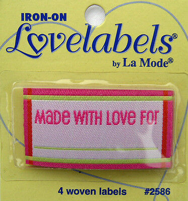 MADE WITH LOVE FOR Woven Labels (Qty-4) Iron-On/Sew-In PINK
