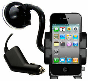 WINDSCREEN HOLDER MOUNT CRADLE & IN CAR CHARGER ADAPTER FOR iPHONE 3G/3GS/4/4S