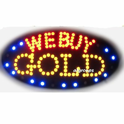 "WE BUY GOLD Flashing & Animated REAL LED OPEN SIGN ON/OFF SWITCH 19""x10"""