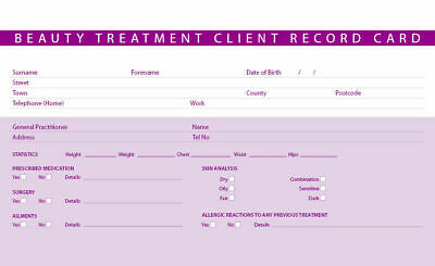 New Beauty Treatment Consultation Client Record Cards