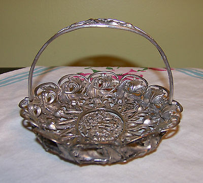 Antique Victorian Vtg Silverplate Cupid Reticulated Basket Dish