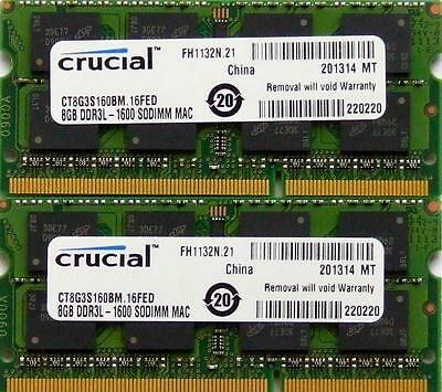 Crucial ram memory 16GB kit DDR3 PC3-12800,1600MHz for 2012 Apple Macbook Pro's