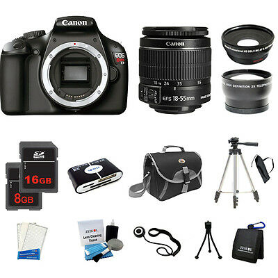 Canon EOS Rebel T3 1100D Camera +18-55 +3 Lens Kit +24GB +Case +Filters, New USA
