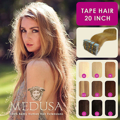 """Medusa Skin Weft Tape 100% Human Remy Hair Extensions 20"""" 40pc Full Head & 20pc"""