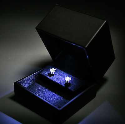 Deluxe Black Leatherette & Suede Anniversary Earring Box w/ LED Light