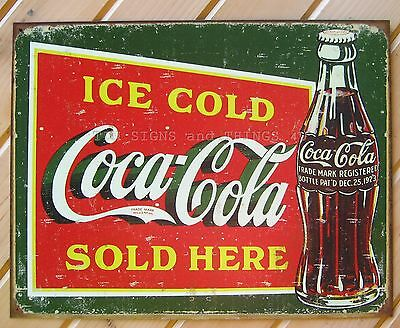 Ice Cold Coca Cola Sold Here TIN SIGN vtg metal coke decor 1923 bottle logo 1393