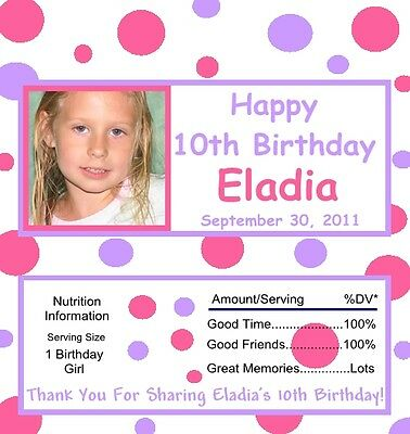 25 Personalized Purple & Pink Dots With Picture Birthday Candy Bar Wrappers