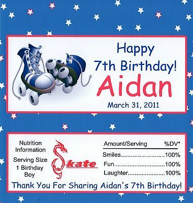 25 Roller Skate Personalized Birthday Candy Bar Wrapper