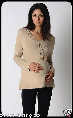BRAND NEW *Madison Rose* MATERNITY V Neck Pom Pom Jumper Beige Size 12 / 16